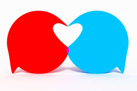 Two speech bubbles form heart, 3d Illustration Stock Photo
