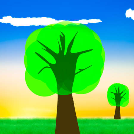Landscape with tree, 3d illustration Stock Photo
