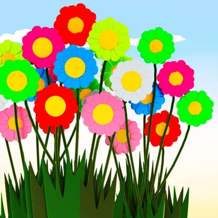 margerite: Colorful bouquet, 3d illustration