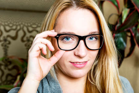 Woman with glasses and cool look Stock Photo