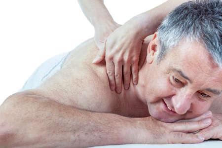 satisfies: Senior man at the massage Stock Photo