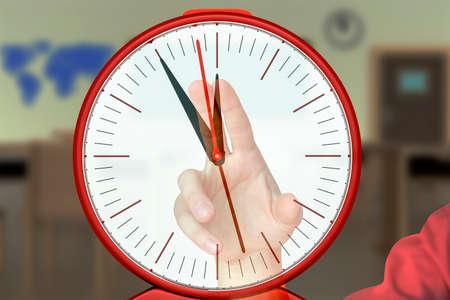 Hand holding electric radio alarm clock Stock Photo