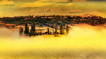 Wonderful landscape with country house in Tuscany Stock Photo