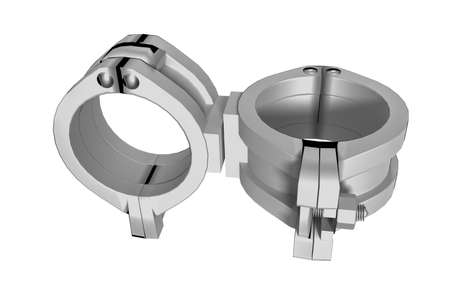 Pipe connection clamp, 3d illustration