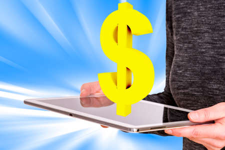 professionally: Woman holding tablet pc with dollar sign