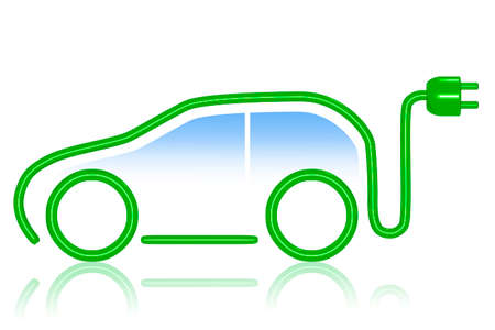 ecologically: Car silhouette with electric plug