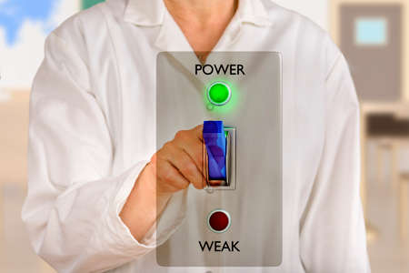 Person pointing with finger on virtual power switch