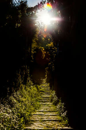 believes: Dark mysterious staircase with sunrays