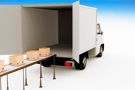 forwarding: Delivery truck with packages on the conveyor, 3d illustration Stock Photo