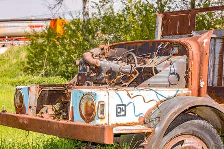 Discarded scrap car Stock Photo