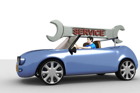 Car with wrench field service Stock Photo