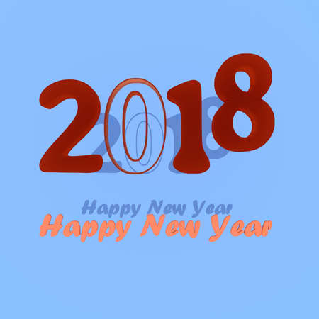 turn of the year: Year 2018 for the year change, 3D illustration Stock Photo