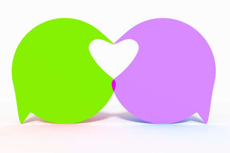 Two speech bubbles form heart, 3d Illustration Stock Photo