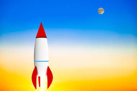 Rocket dans la montée, 3d illustration Banque d'images - 79420391