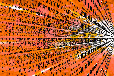 formulae: Virtual wall with flying codes, 3d-illustration Stock Photo