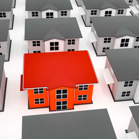 Colored house among gray houses, 3D-Illustration Stock Photo