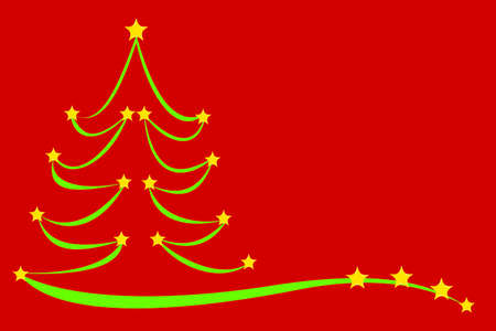 creatively: Drawn Christmas tree with stars, 3D illustration