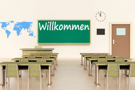 Empty classroom, 3d illustration,welcome