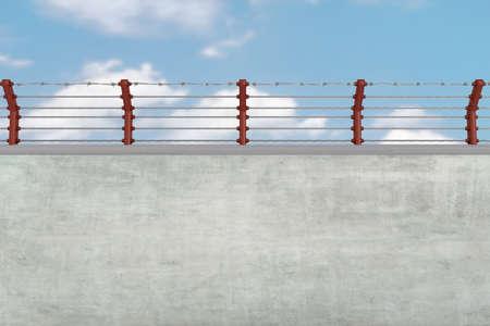 철조망이있는 벽