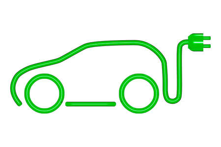 Car silhouette with electric plug