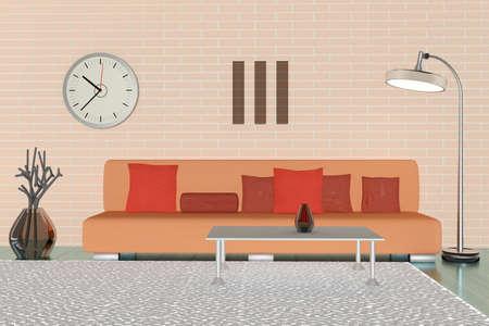 moderne woonkamer 3d Stockfoto