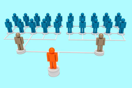 Figures symbolize corporate hierarchy Stock Photo