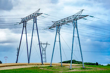 latticed: Power masts with cable
