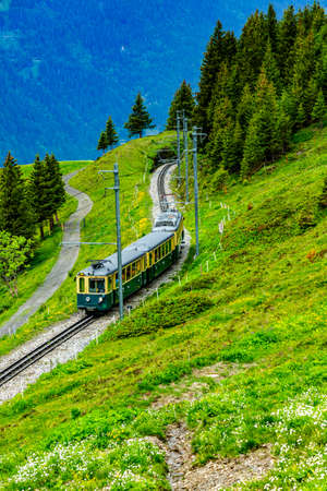 Swiss Alps with cogwheel railway at Wengen