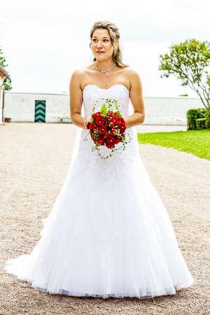Woman in wedding dress  Stock Photo