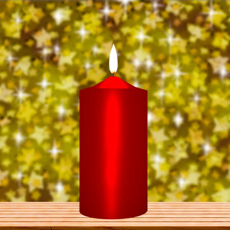 Burning candle in front of sparkling stars, 3d illustration