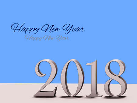 turn of the year: Year 2018 for the year change, 3D illustration.