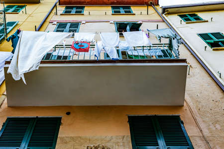 Balcony with clothes