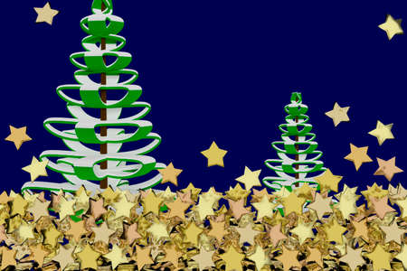 Christmas card with background and many gold stars, 3d illustration Stock Photo