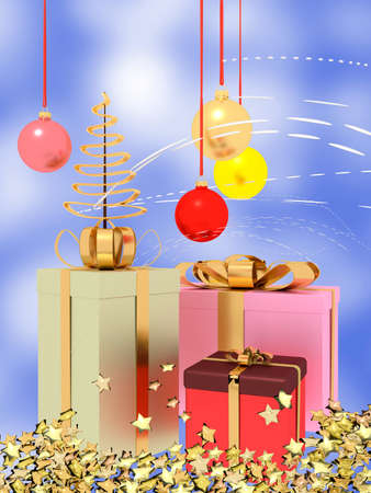 Christmas motive with parcels and glass balls, 3d illustration