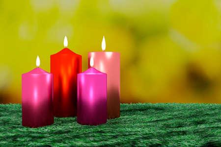 beaming: Burning candles on decorative greenery, 3d illustration