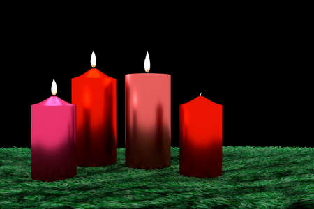 Burning candles on decorative greenery, 3d illustration