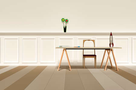 Interior with writing board and chair, 3d illustration Stock Photo