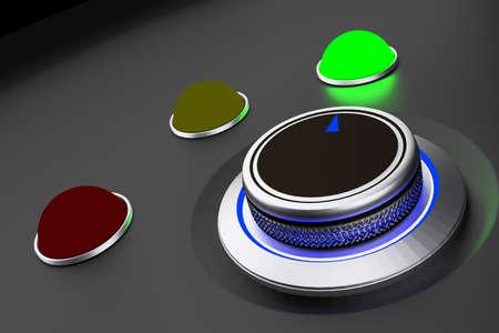 Botón giratorio con pantalla de botones de colores, ilustración 3D Foto de archivo - 87878716