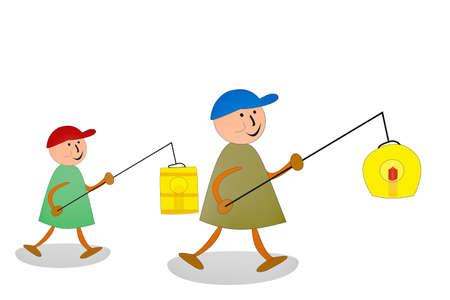 tinkered: Child with lantern, illustration