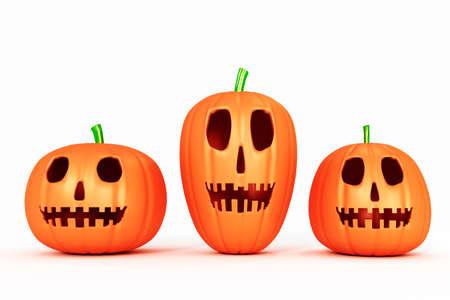 Halloween pumpkins, 3d illustration