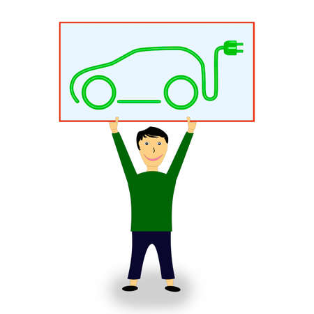 Figure holding shield with electric car high, 3d illustration