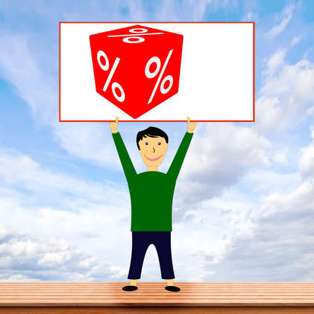 Figure holding shield with percent cubes high, 3d illustration