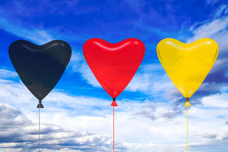 Heart balloon in german national colors, 3D illustration  Stock Photo