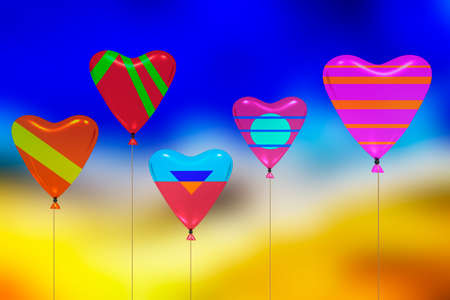 Colorful heart air balloon hang on the string, 3D illustration