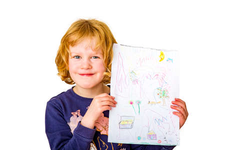 Schoolchild presents painted picture