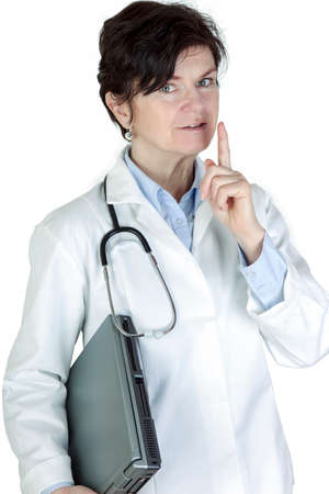 Doctor with electronic device