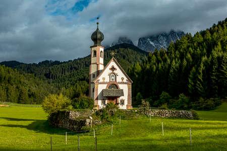 The church St. Johann in Ranui in the Villnoess Stock Photo