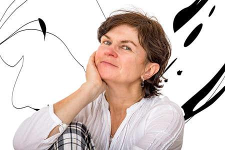 Portrait of a middle-aged woman Stok Fotoğraf