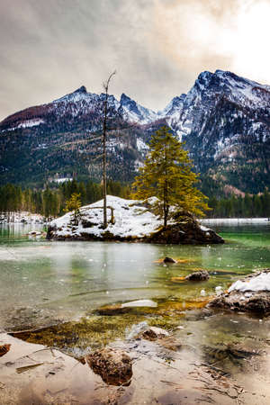 Lake Hintersee in winter with ice and snow