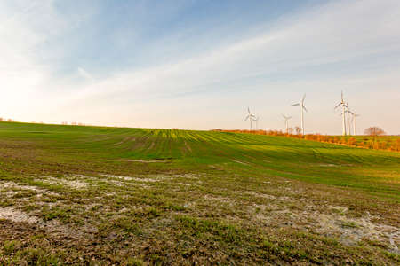 Landscape with wind turbines